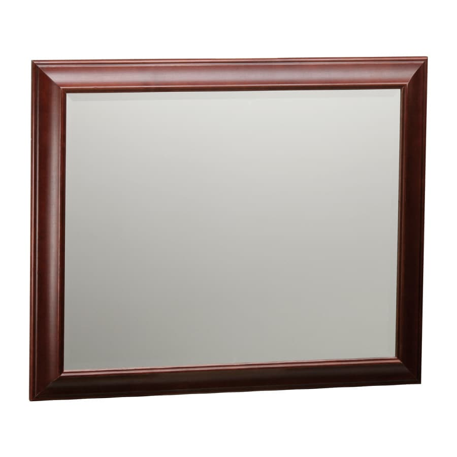ESTATE by RSI Cambridge 29-in W x 35-in H Burgundy with Black Glaze Rectangular Bathroom Mirror