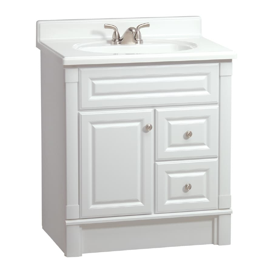 Shop estate by rsi southport white 30 in casual bathroom for Bathroom cabinets 30 inch