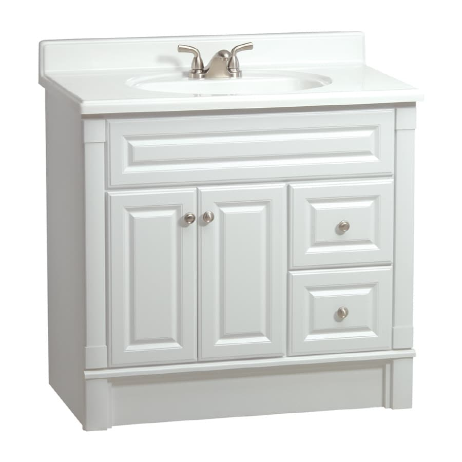Shop ESTATE By RSI Southport White In Casual Bathroom Vanity At - Lowes bathroom cabinets and vanities