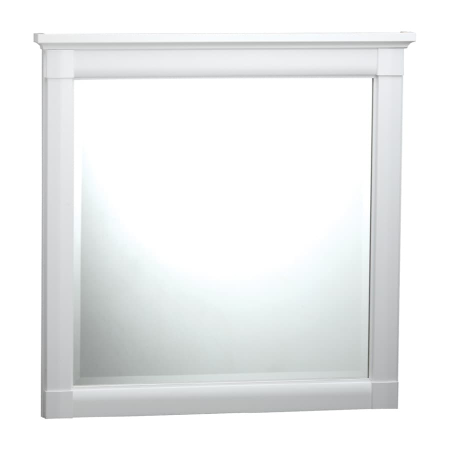 ESTATE by RSI Southport 31.25-in W x 31.25-in H White Square Bathroom Mirror
