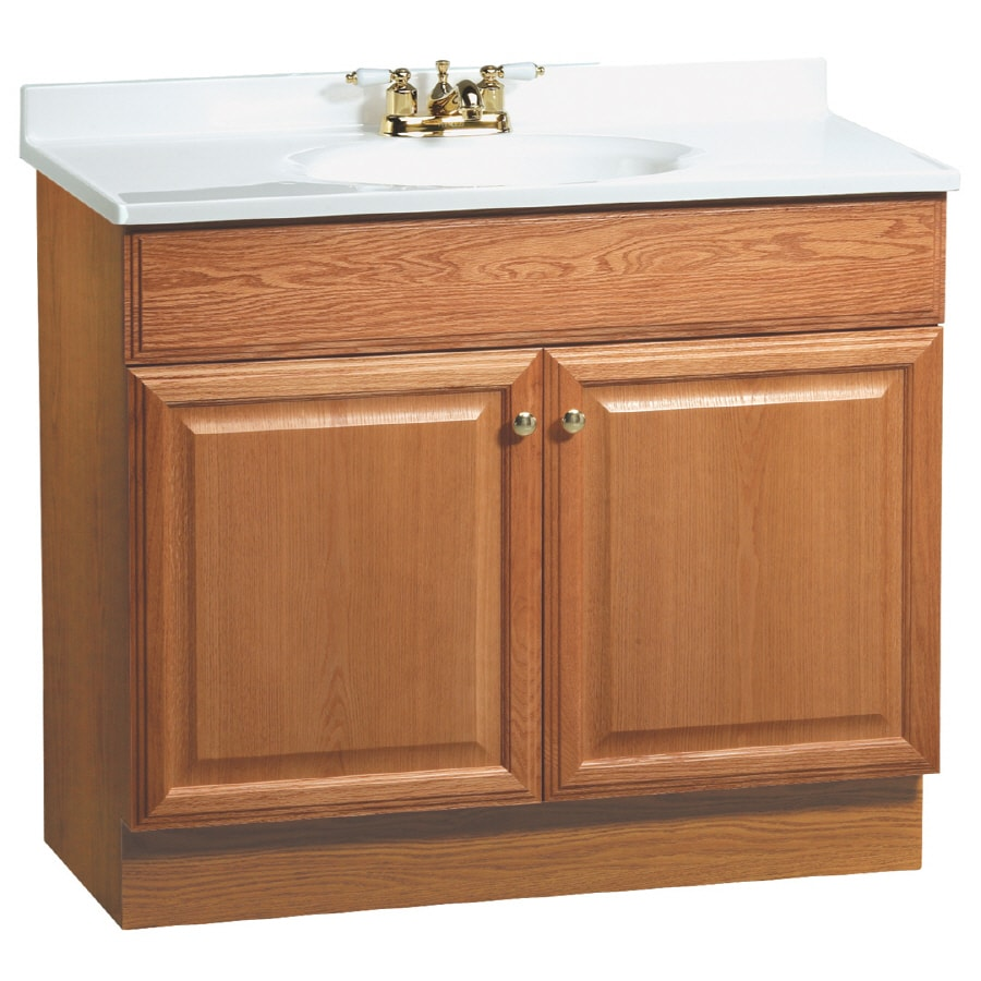 Shop Project Source 37 In Oak Richmond Single Sink Bathroom Vanity With Top At