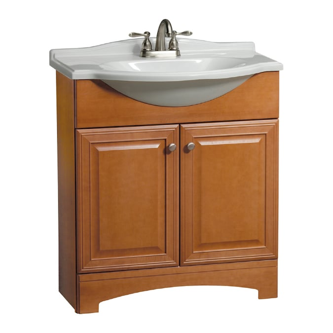 Estate By Rsi Premier Euro Cinnamon Single Sink Bathroom Vanity With White Cultured Marble Top In The Bathroom Vanities With Tops Department At Lowes Com