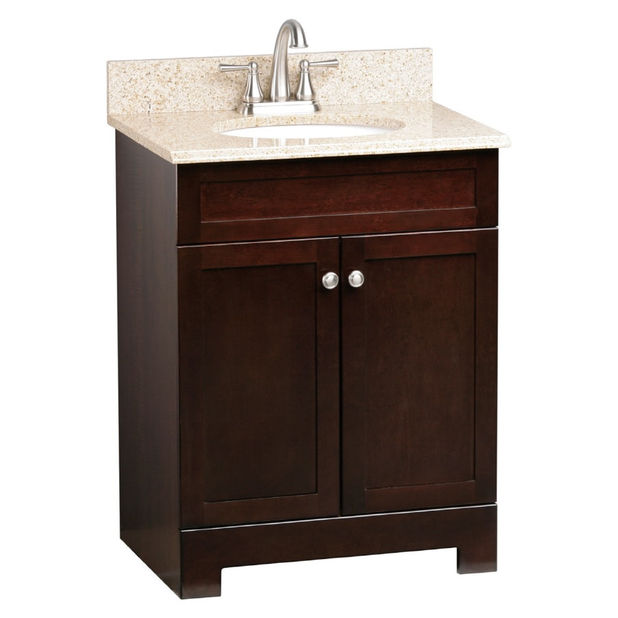 Shop style selections broadway 25 in x 19 in espresso - Lowes single sink bathroom vanity ...