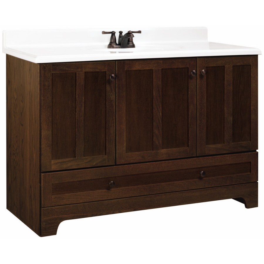 Style Selections 48 Cognac Oak Ashton Bottom Drawer Bath Vanity