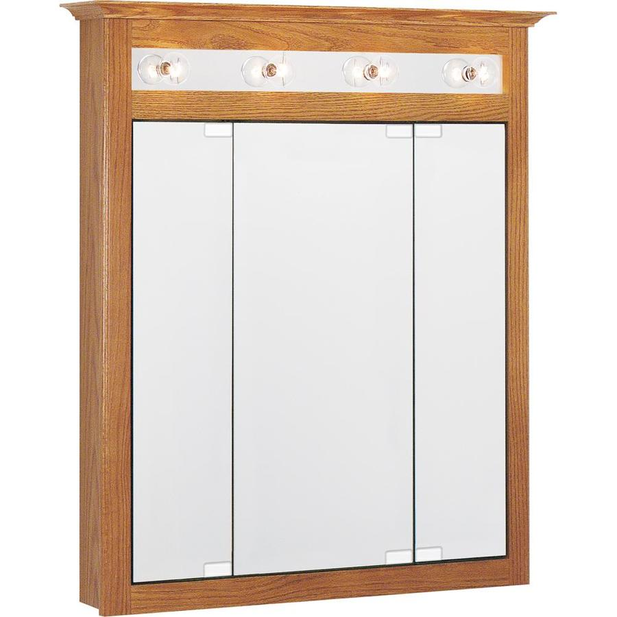 Project Source 31.75-in x 36-in Rectangle Surface Oak Mirrored Particleboard Medicine Cabinet Lighted