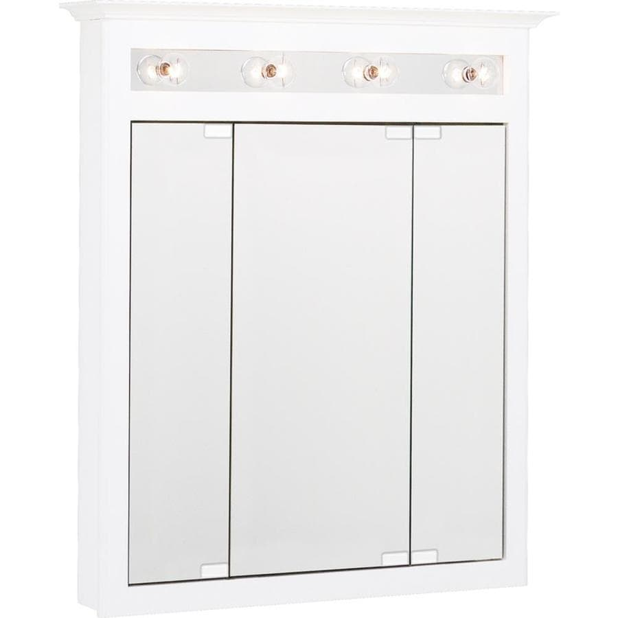 Project Source 31.75-in x 36-in Rectangle Surface Mirrored Particleboard Medicine Cabinet Lighted