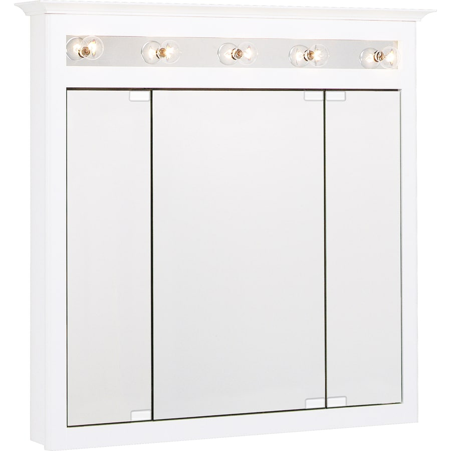 Project Source 37.5-in x 36-in Surface Medicine Cabinet with Lights - Shop Project Source 37.5-in X 36-in Surface Medicine Cabinet With