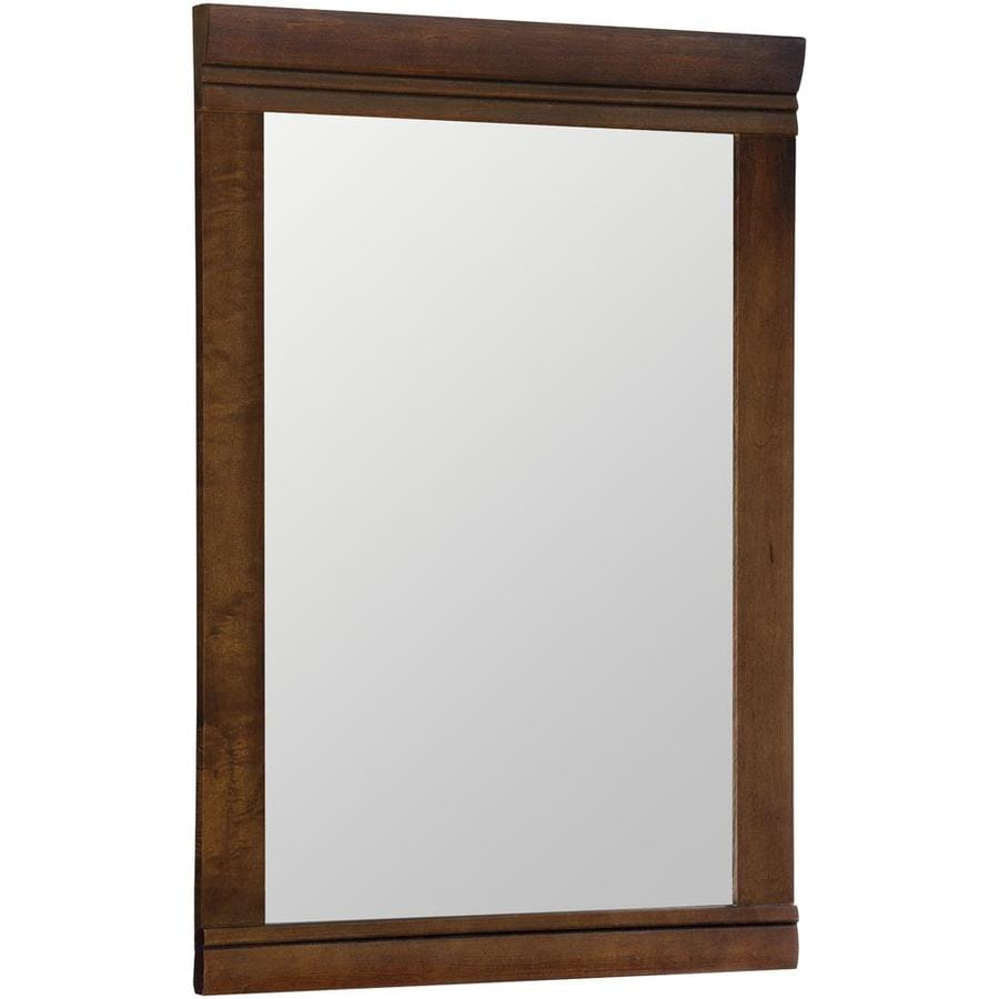 Bathroom mirrors wood frame - Style Selections Windell 20 5 In X 29 5 In Auburn Rectangular Framed Bathroom Mirror