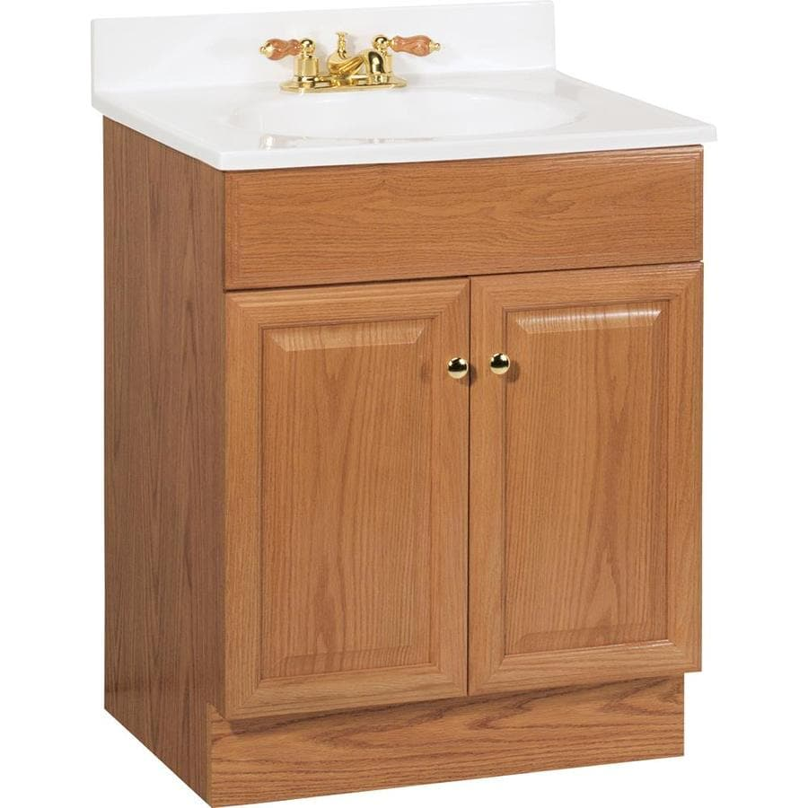 Project Source Golden (Common: 25-in x 19-in) Integral Single Sink Bathroom Vanity with Cultured Marble Top (Actual: 24.5-in x 18.5-in)