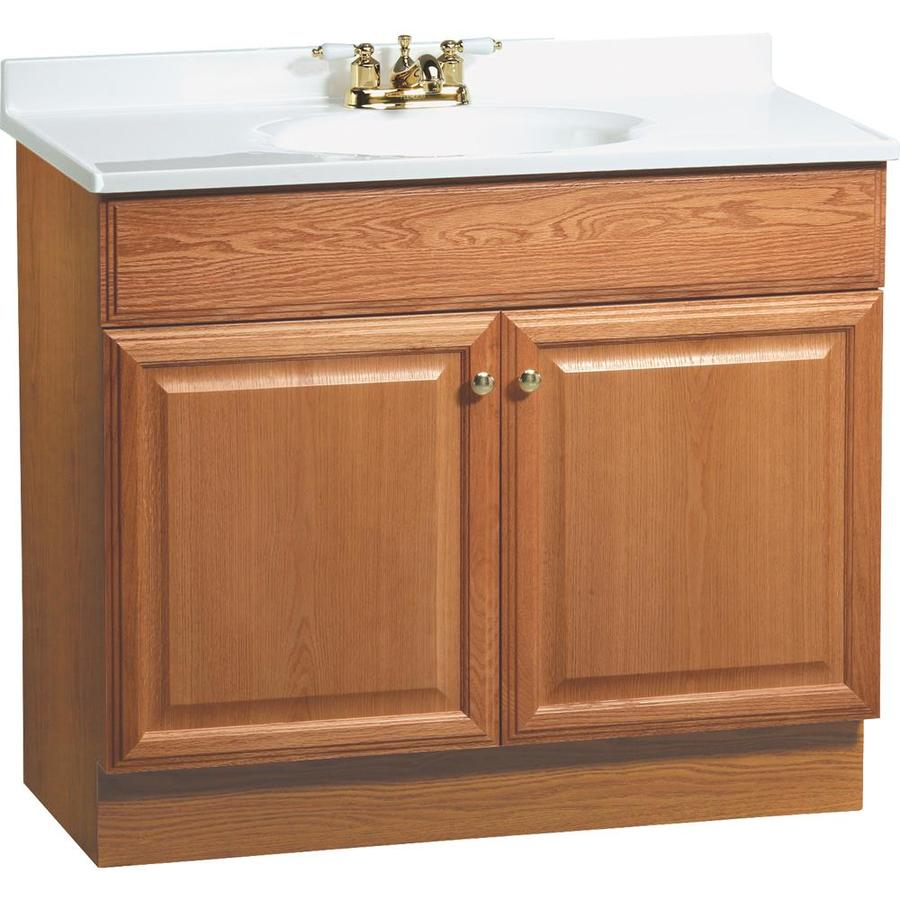Project Source 36.5-in Golden Single Sink Bathroom Vanity ...