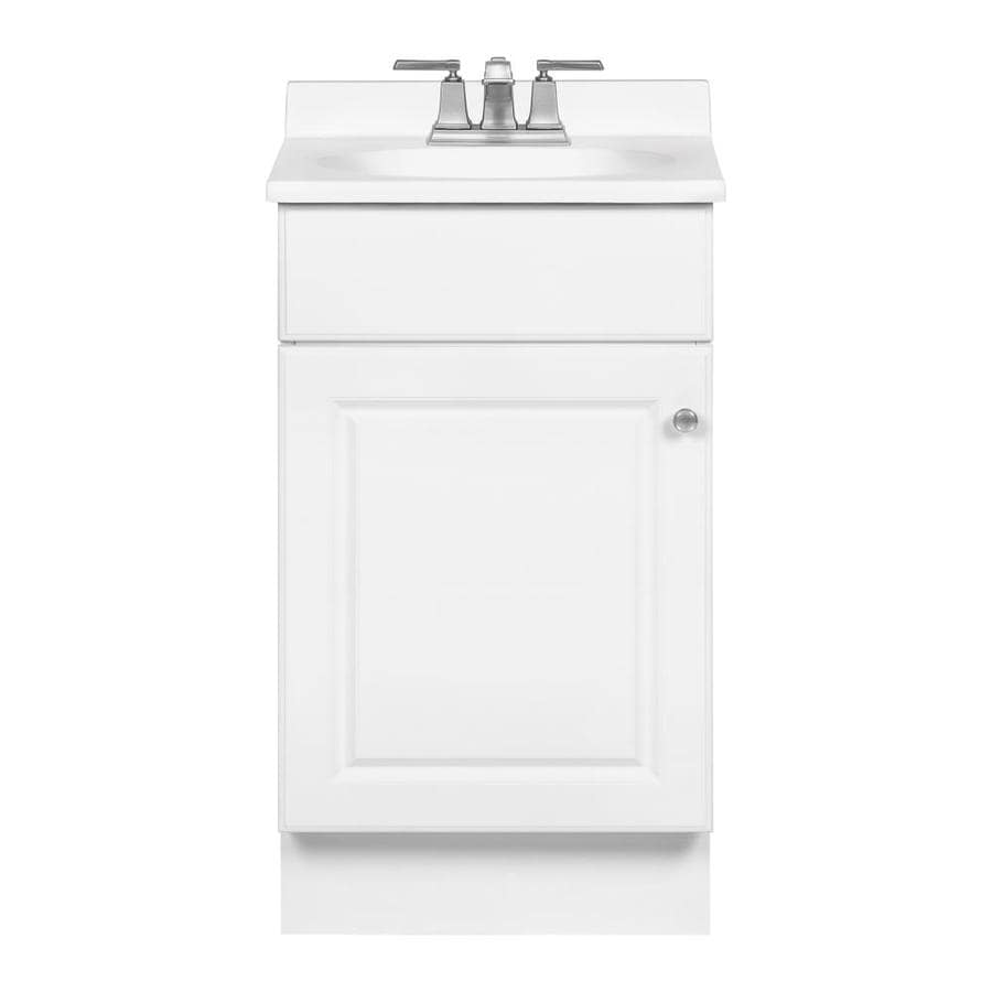 shop project source white integrated single sink bathroom vanity with cultured marble top. Black Bedroom Furniture Sets. Home Design Ideas