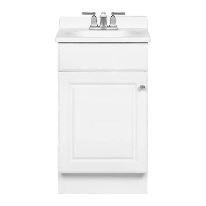 Project Source 19 In White Single Sink Bathroom Vanity With White Cultured Marble Top In The Bathroom Vanities With Tops Department At Lowes Com
