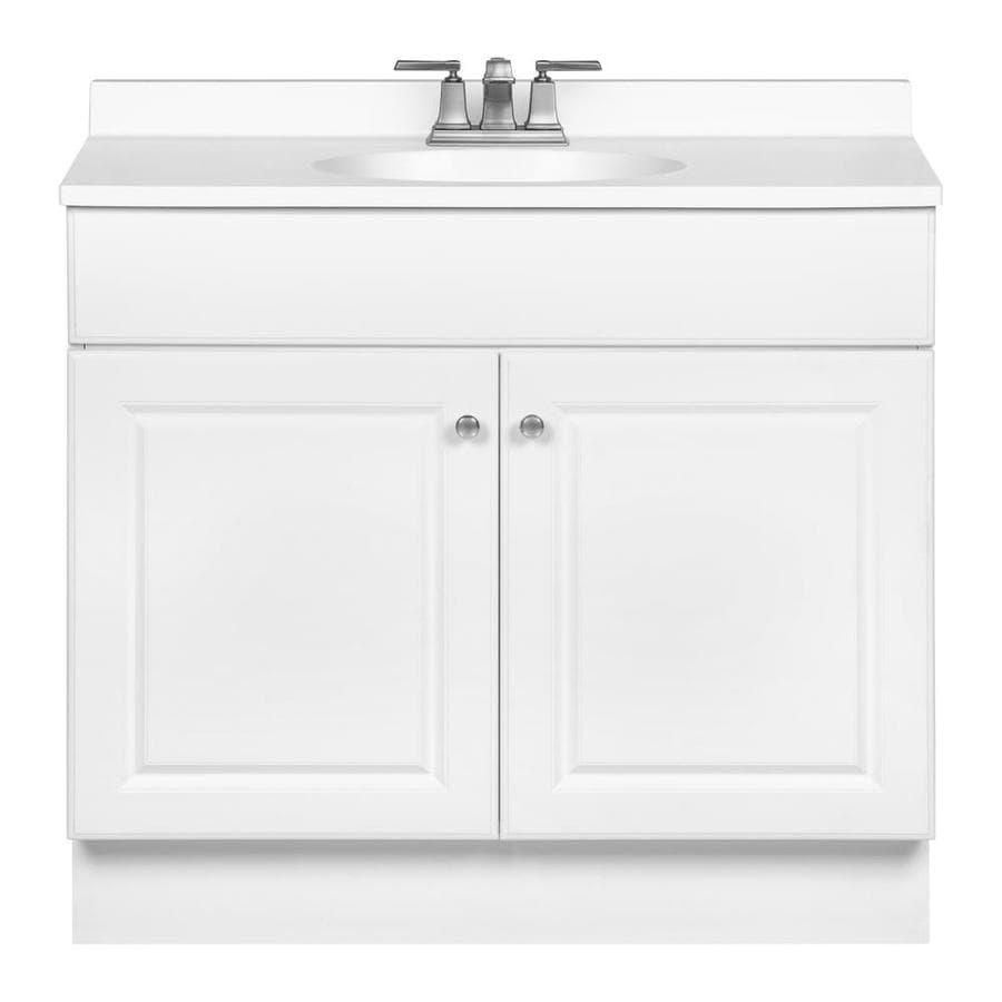 Shop project source white integrated single sink bathroom vanity with cultured marble top Lowes bathroom vanity and sink