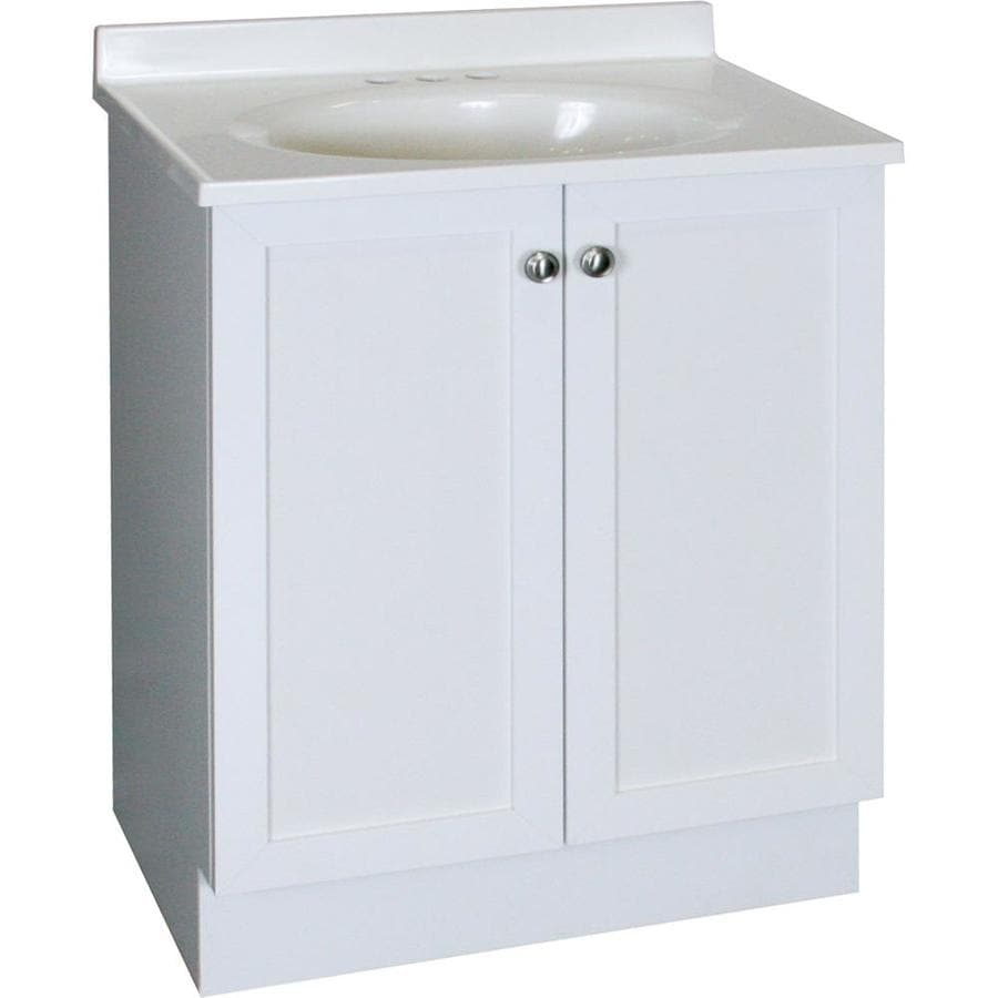 Shop project source white integrated single sink bathroom vanity with cultured marble top - Cultured marble bathroom vanity tops ...