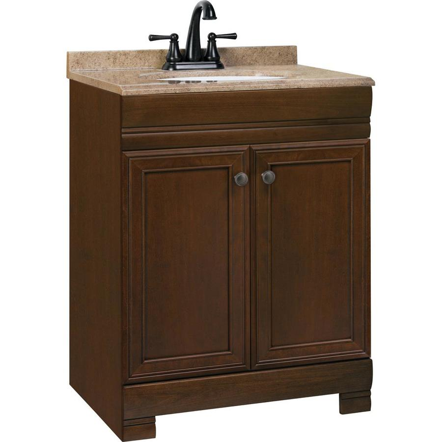 Style Selections Windell Auburn Integrated Single Sink Bathroom Vanity with Solid Surface Top (Common: 25-in x 19-in; Actual: 24.5-in x 18.5-in)