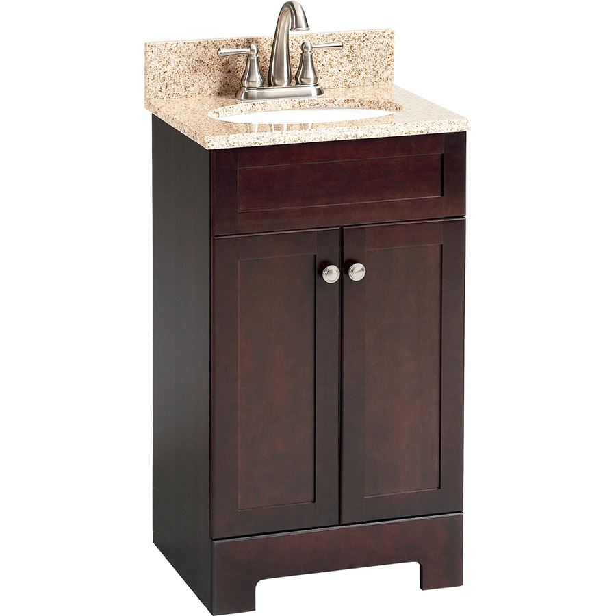Style Selections Longshire Espresso Undermount Single Sink Bathroom Vanity  With Granite Top (Common: 19