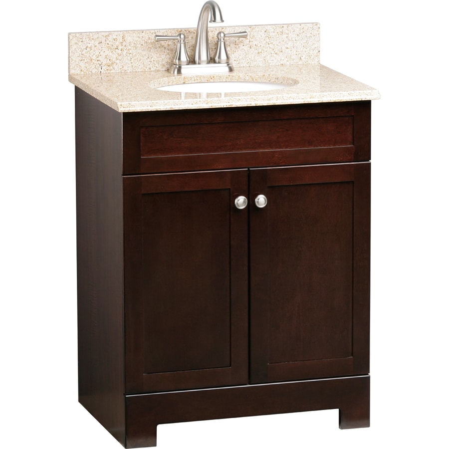 Style Selections Longshire Espresso 25-in Undermount Single Sink Bathroom Vanity with Granite Top