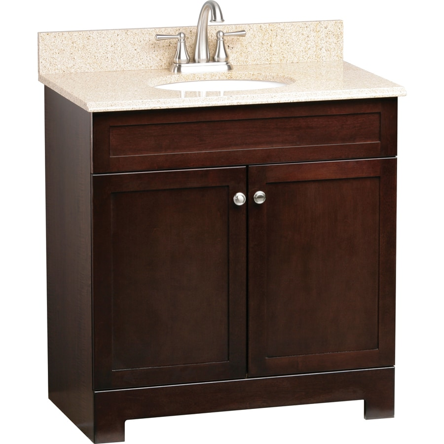 Style Selections Longshire Espresso 31-in Undermount Single Sink Bathroom Vanity with Granite Top
