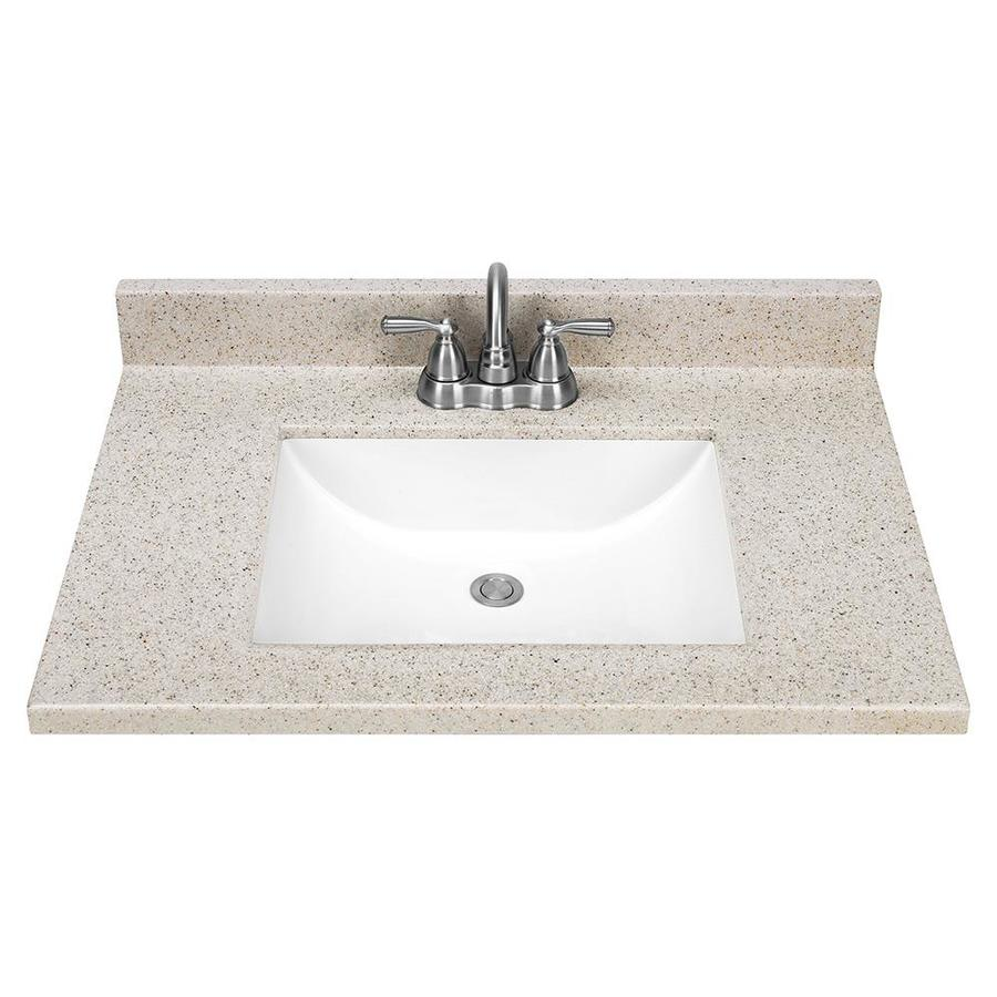 shop dune solid surface integral bathroom vanity top common 31 in x 22 in actual 31 in x 22