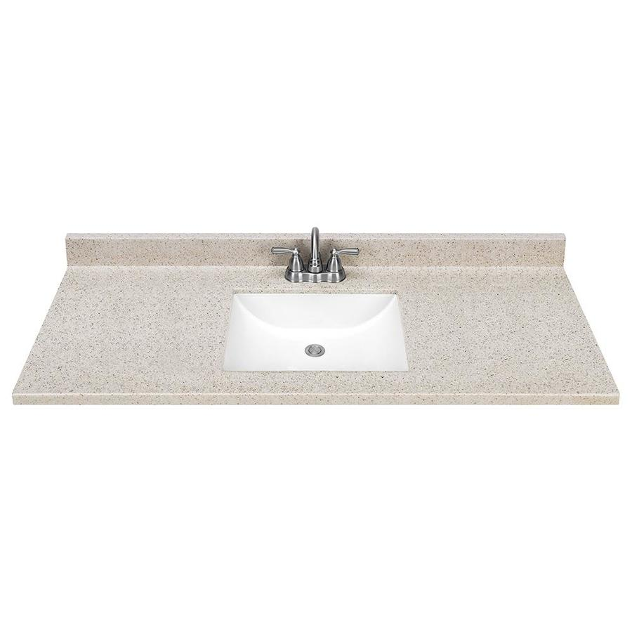 Shop dune solid surface integral bathroom vanity top common 49 in x 22 in actual 49 in x 22 - Cultured marble bathroom vanity tops ...
