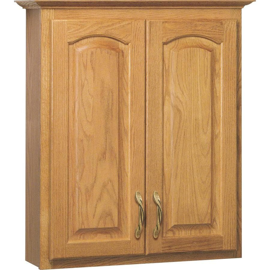 Project Source 25.5-in W x 29-in H x 7.5-in D Golden Bathroom Wall Cabinet
