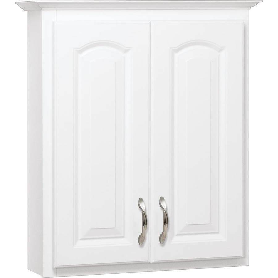 White Bathroom Wall Cabinets shop project source 25.5-in w x 29-in h x 7.5-in d white bathroom