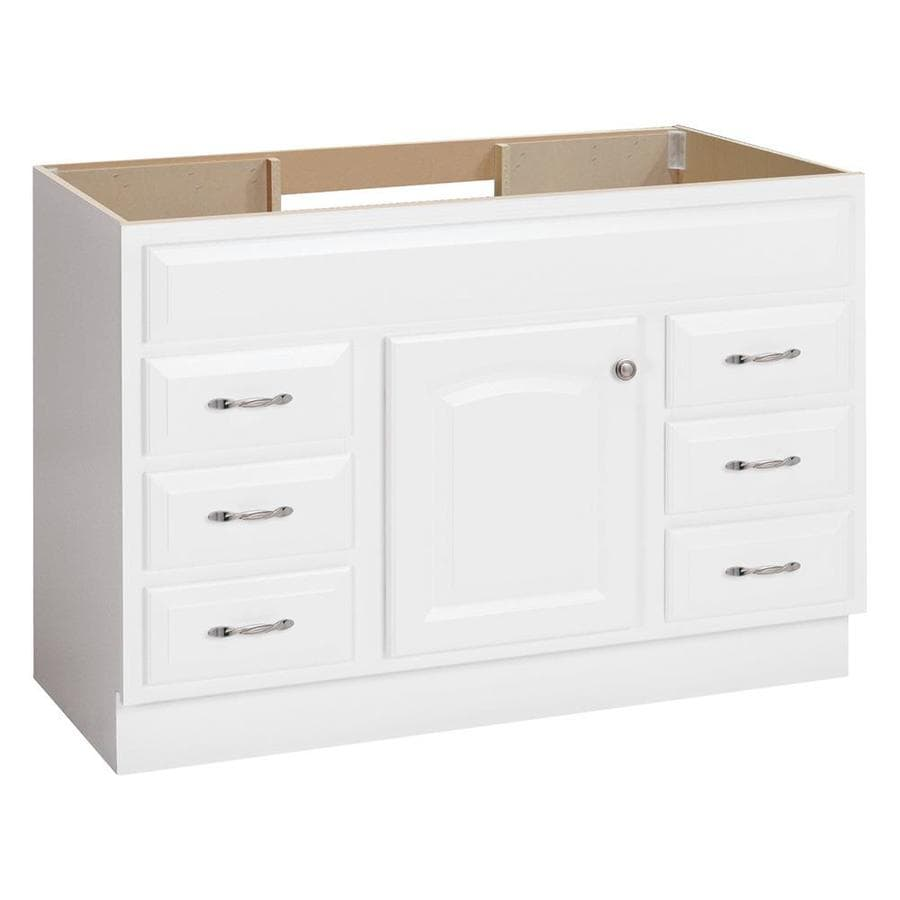 Project source white bathroom vanity common 48 in x 21 - 48 inch white bathroom vanity with top ...
