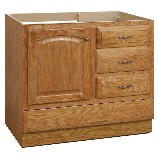 Project Source Oak Bathroom Vanity Common 36 In X 21 In Actual 36 In X 21 In In The Bathroom Vanities Without Tops Department At Lowes Com