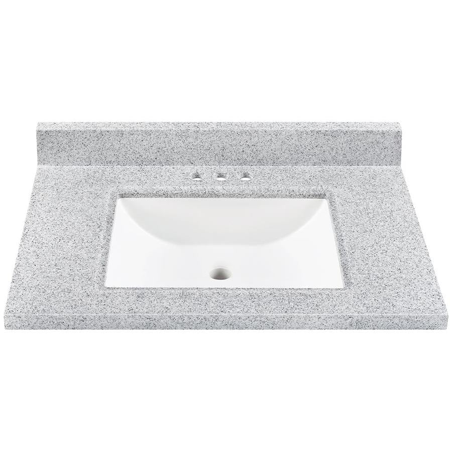 Bathroom Vanity 37 X 22 shop pepper solid surface integral bathroom vanity top (common: 37