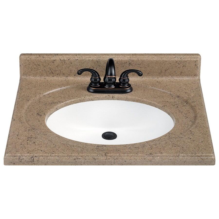 Great Kona Solid Surface Integral Single Sink Bathroom Vanity Top (Common: 25 In X