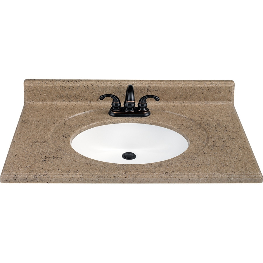 Kona Solid Surface Integral Single Sink Bathroom Vanity Top (Common: 37 In X