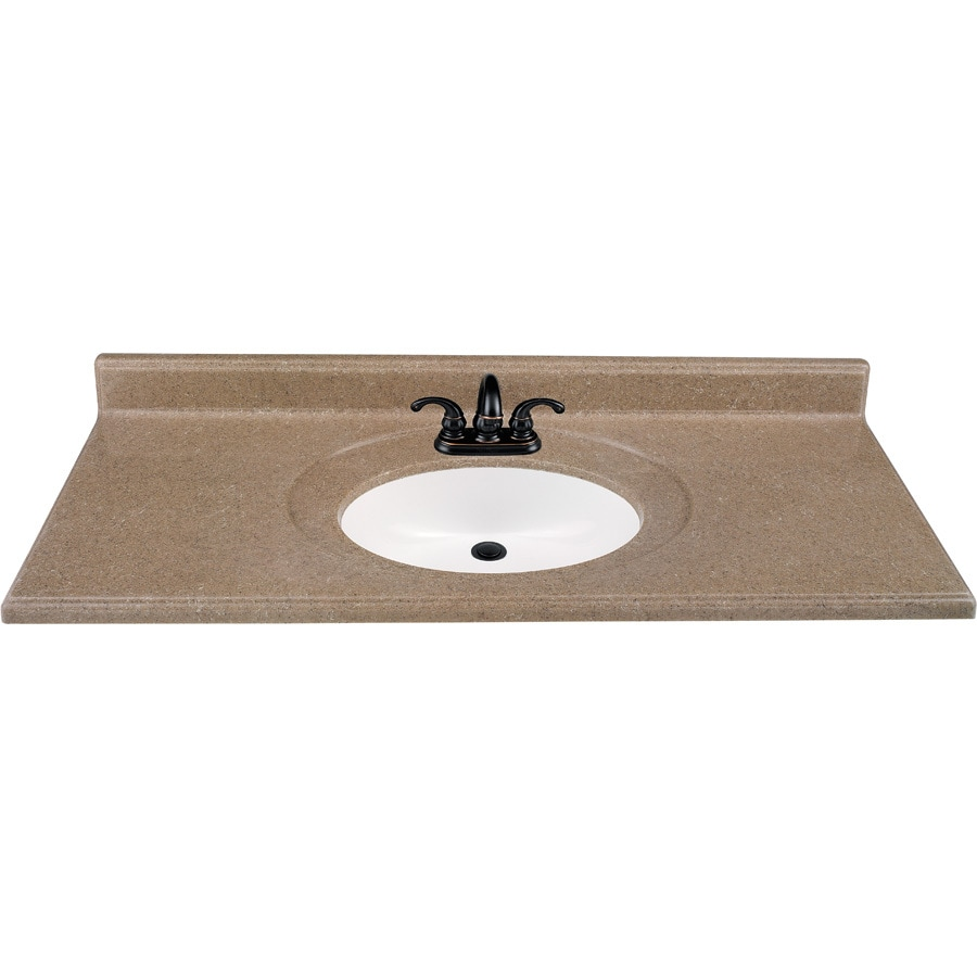 Solid Surface Bathroom Sink: Shop Kona Solid Surface Integral Single Sink Bathroom