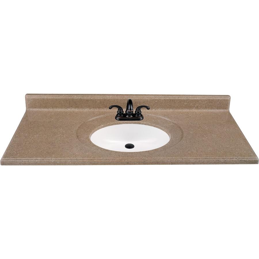 Shop Kona Solid Surface Integral Single Sink Bathroom Vanity Top Common 49 In X 22 In Actual