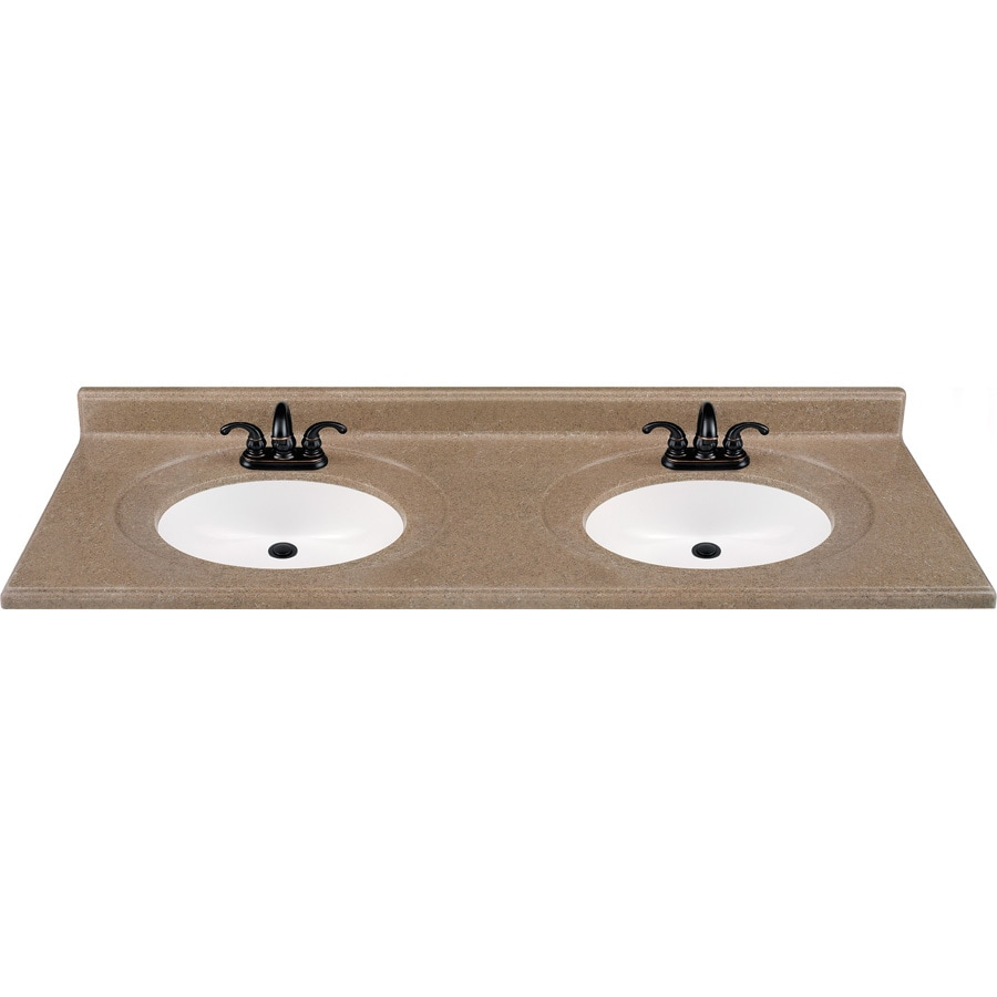 Shop kona solid surface integral double sink bathroom for Bathroom vanity tops