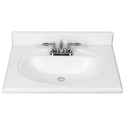 25 In White Cultured Marble Single Sink Bathroom Vanity Top In The Bathroom Vanity Tops Department At Lowes Com