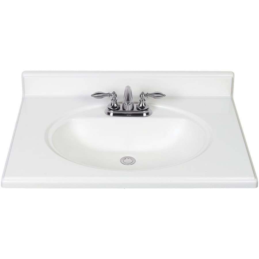 White Cultured Marble Integral Bathroom Vanity Top Common 31 In X 22