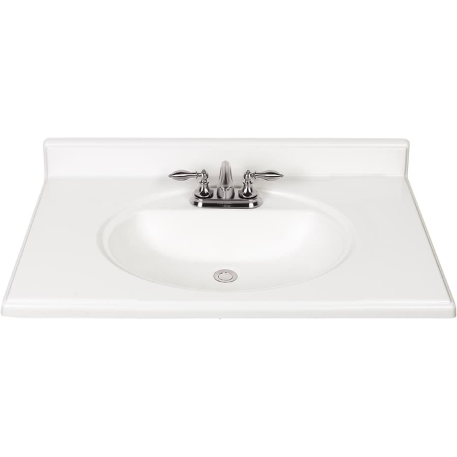 Shop White Cultured Marble Integral Bathroom Vanity Top Common 37 In X 22 In Actual 37 In X