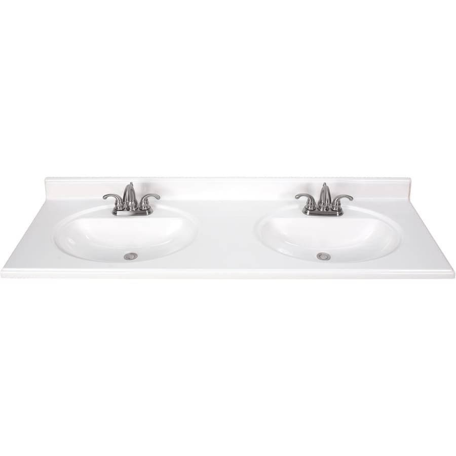 White Cultured Marble Integral Bathroom Vanity Top (Common: 61 In X 22