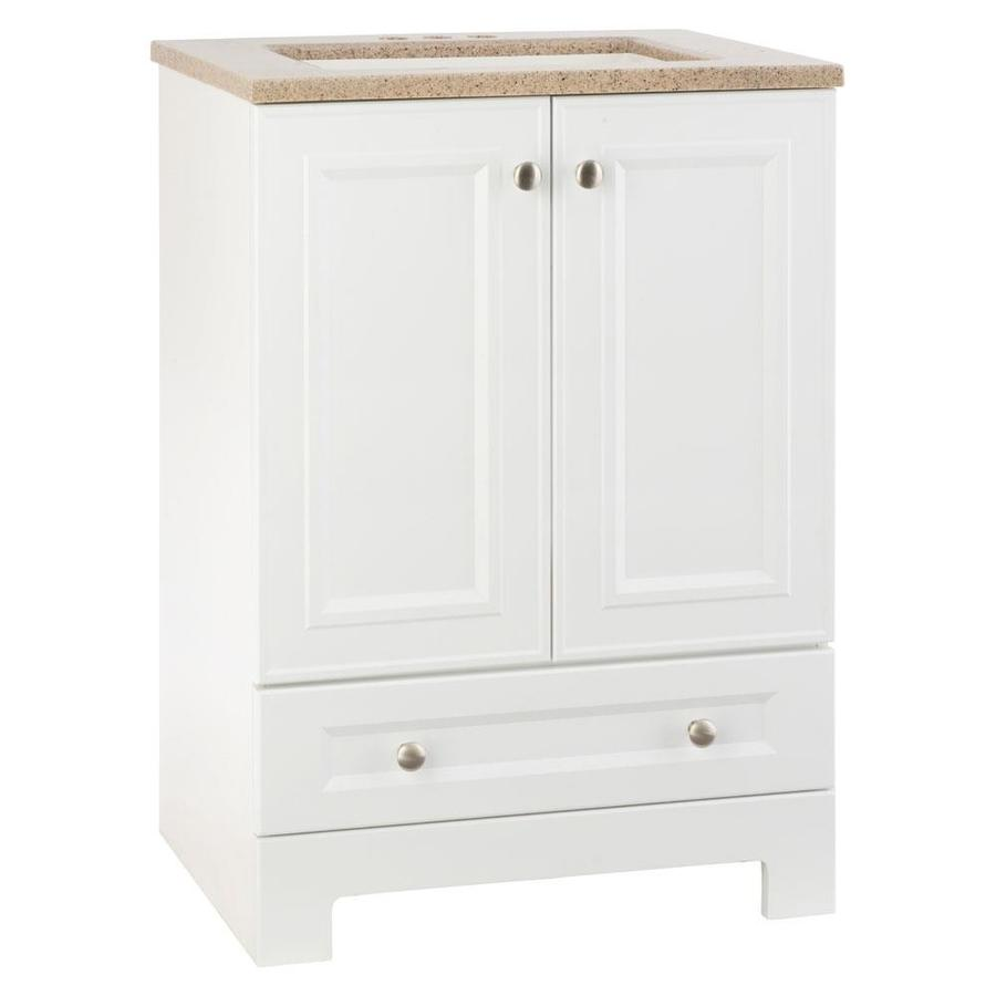 Style selections emberlin 24 5 in white single sink - Lowes single sink bathroom vanity ...