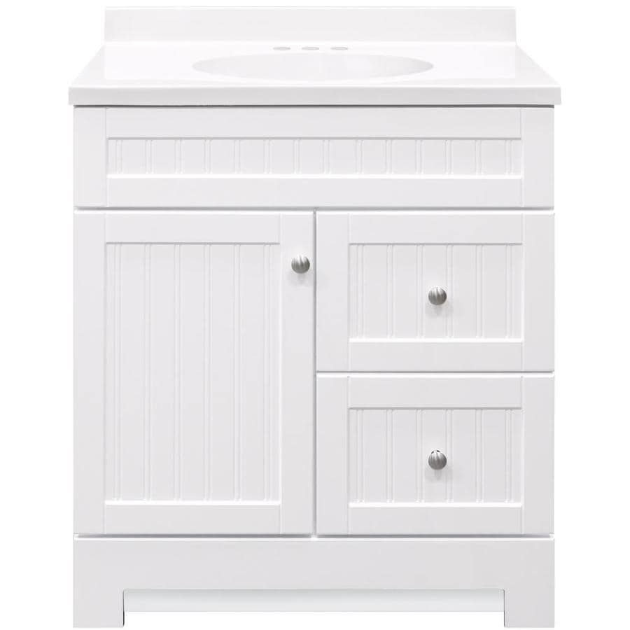 Vanities For Small Bathrooms Lowes Style Selections Ellenbee 30.5-in White Single Sink Bathroom Vanity with  White Cultured Marble Top
