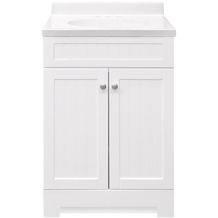 Style Selections Ellenbee White Integral Single Sink Bathroom Vanity With Cultured Marble Top Common