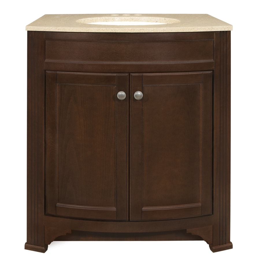 Style Selections Delyse Auburn Integrated Single Sink Bathroom Vanity with Solid Surface Top (Common: 31-in x 19-in; Actual: 30.75-in x 18.5-in)