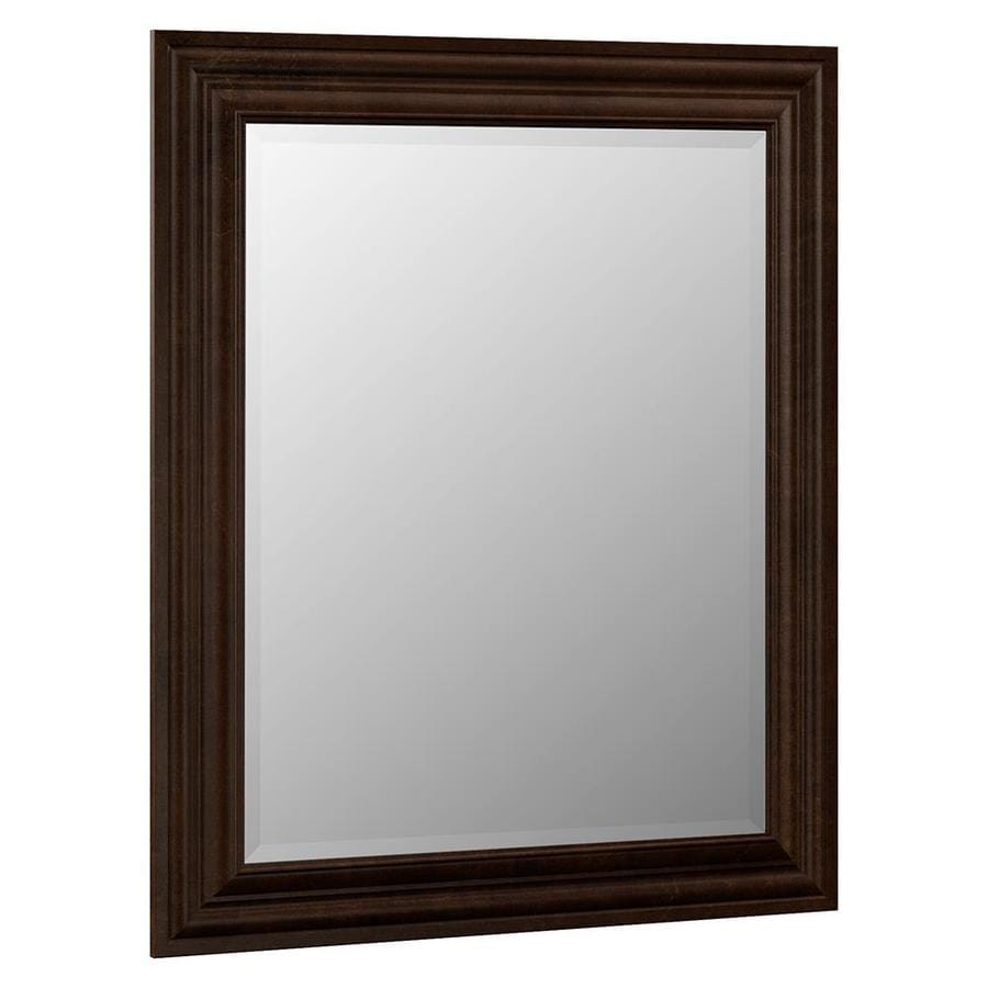 VILLA BATH by RSI 29-in x 35.25-in Java Rectangular Framed Bathroom Mirror