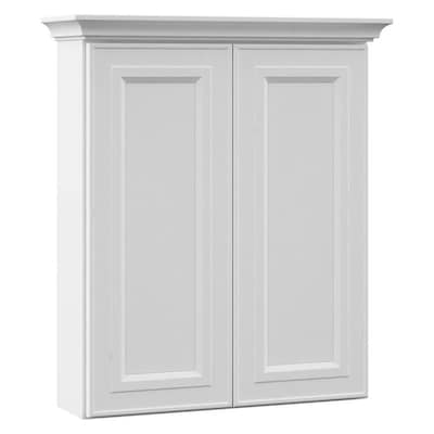 Catalina 24 In W X 28 5 H 7 25 D White Bathroom Wall Cabinet