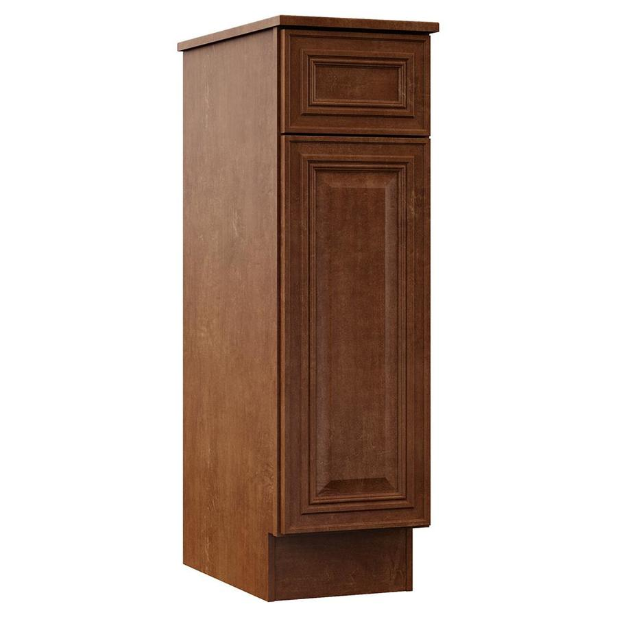 VILLA BATH by RSI Monroe 12-in W x 41.75-in H x 21.5-in D Cognac Particleboard Wall-Mount Linen Cabinet