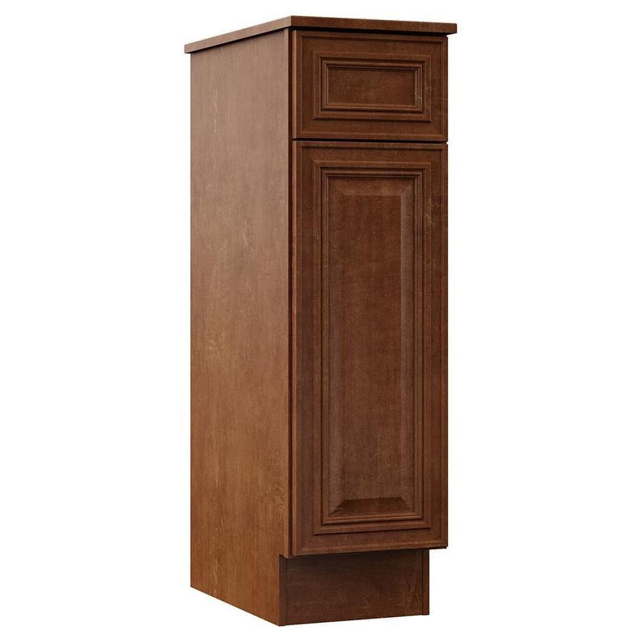 VILLA BATH by RSI 12-in W x 41.75-in H x 21.5-in D Cognac Particleboard Wall-Mount Linen Cabinet