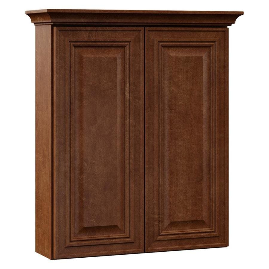 VILLA BATH by RSI 24-in W x 28.5-in H x 7.25-in D Cognac Bathroom Wall Cabinet
