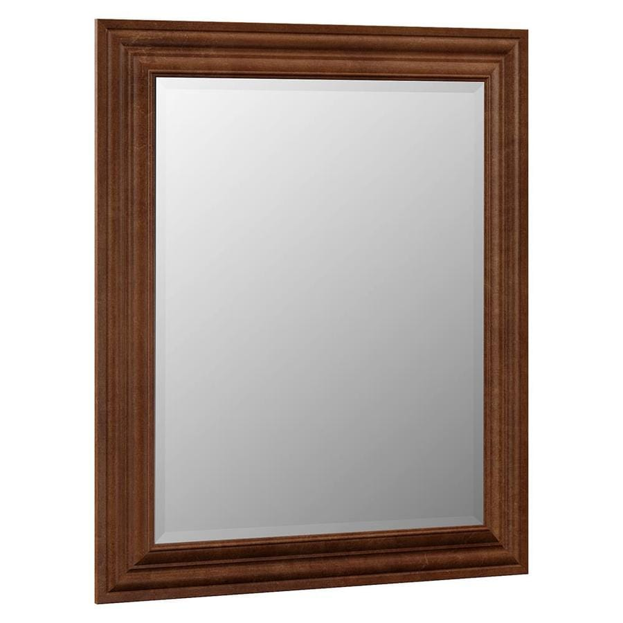 VILLA BATH by RSI 29-in x 35.25-in Cognac Rectangular Framed Bathroom Mirror