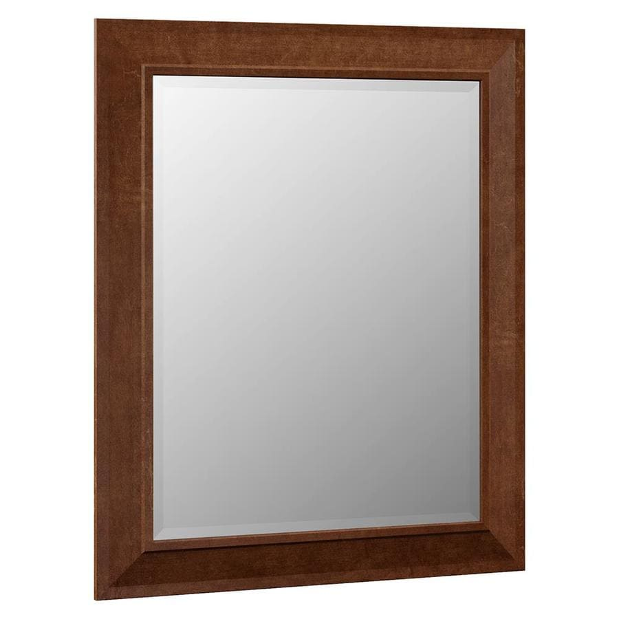 Framed Bathroom Mirrors At Lowes shop villa bathrsi sanabelle 29-in x 35.25-in cognac