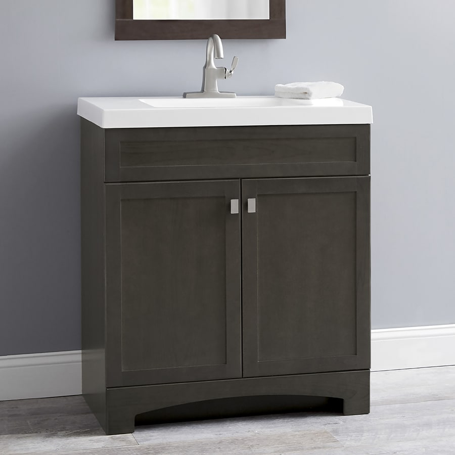 Bathroom sink cabinets white - Style Selections Drayden Gray 30 5 In Integral Single Sink Bathroom Vanity With Cultured Marble Top